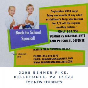 back to school special, martial arts, karate, bellefonte, bellefonte karate