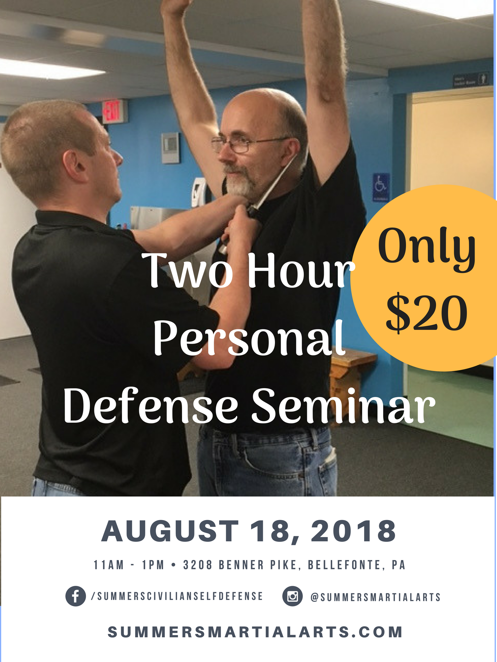 two hour personal defense seminar, seminar, personal defense, bellefonte, benner pike, limited time