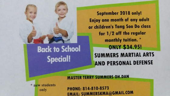 back to school special, benner pike, bellefonte, karate, martial arts, bellefonte karate