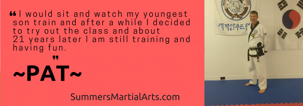 Pat's testimonial, health, confidence, less stress, bellefonte, adults class, summers martial arts